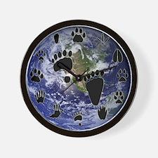 Earth Footprints Wall Clock