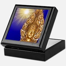 golden buddha in blue Keepsake Box