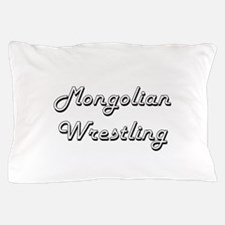 Mongolian Wrestling Classic Retro Desi Pillow Case