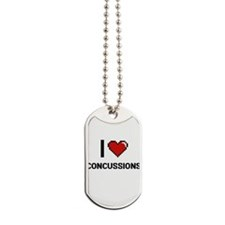 I love Concussions Digitial Design Dog Tags