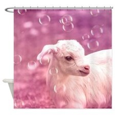 Baby Goat Whitey Shower Curtain