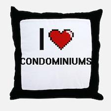 I love Condominiums Digitial Design Throw Pillow