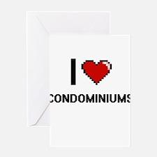I love Condominiums Digitial Design Greeting Cards