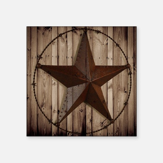 "western texas star wood gra Square Sticker 3"" x 3"""