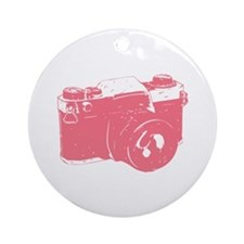 Pink Camera Ornament (Round)