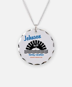 Tropical Family Vacation Necklace Circle Charm