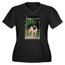 Pug-3 Women's Plus Size V-Neck Dark T-Shirt