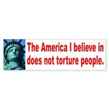 NO TORTURE Bumper Bumper Sticker