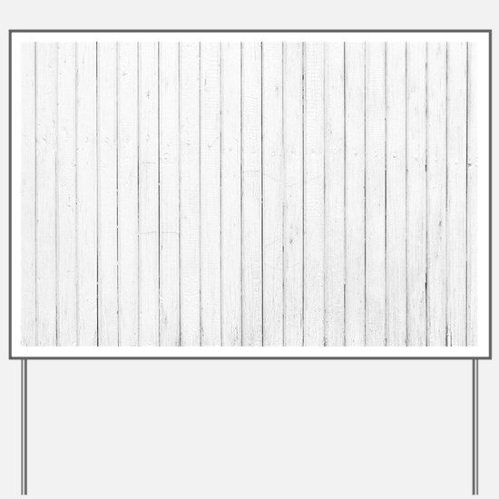 shabby chic white pin stripes Yard Sign