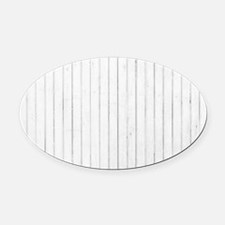 shabby chic white pin stripes Oval Car Magnet