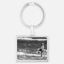 beach with girl Landscape Keychain