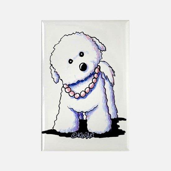 KiniArt Bichon In Pearl Rectangle Magnet (10 pack)