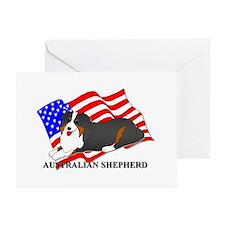Australian Shepherd USA Greeting Card