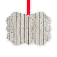 shabby chic white barn wood Ornament