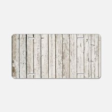 shabby chic white barn wood Aluminum License Plate