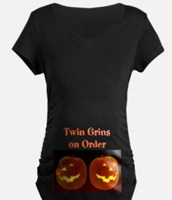 Twin Grins On Order Dark Maternity T-Shirt