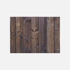 Hickory brown country barn wood 5'x7'Area Rug