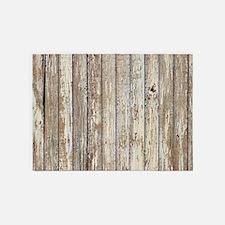 shabby chic white barn wood 5'x7'Area Rug