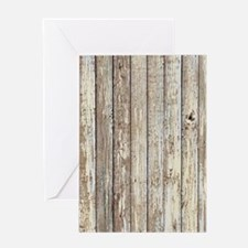 shabby chic white barn wood Greeting Cards