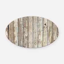 shabby chic white barn wood Oval Car Magnet