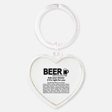 Beer, ask your doctor if it's right Heart Keychain