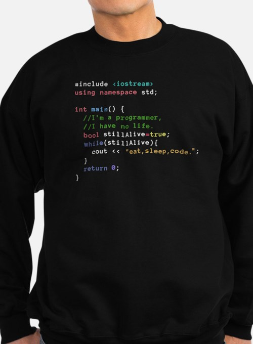 Eat, Sleep, and Code Repeatedly Sweatshirt (dark)