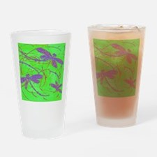 Dragonfly Purple Flit on Lime Drinking Glass