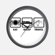 Eat Sleep Travel Wall Clock