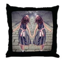 vintage garden twin girls Throw Pillow