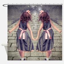 vintage garden twin girls Shower Curtain