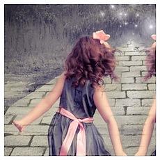 vintage garden twin girls Poster