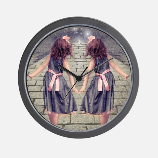 vintage garden twin girls Wall Clock