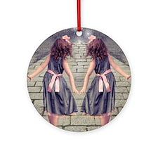 vintage garden twin girls Round Ornament