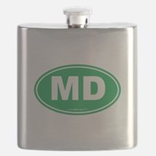 Maryland MD Euro Oval GREEN Flask