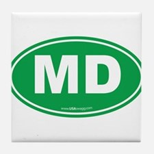 Maryland MD Euro Oval GREEN Tile Coaster