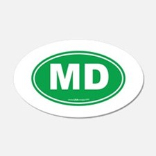 Maryland MD Euro Oval GREEN Wall Decal