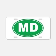 Maryland MD Euro Oval GREEN Aluminum License Plate