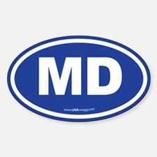 Maryland MD Euro Oval BLUE Decal