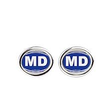 Maryland MD Euro Oval BLUE Oval Cufflinks