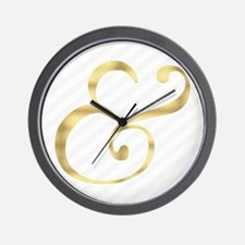 Gray Stripe and Gold Ampersand Wall Clock