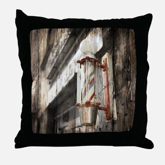 vintage barber shop pole Throw Pillow