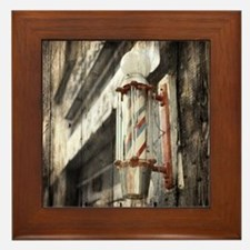 vintage barber shop pole Framed Tile