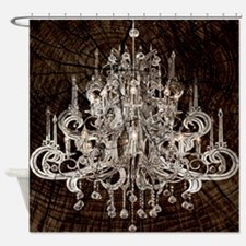 rustic wood vintage chandelier Shower Curtain
