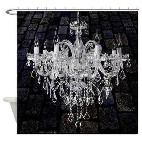 rustic grunge vintage chandelier shower curtain