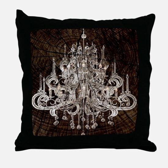rustic wood vintage chandelier Throw Pillow