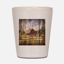 western country red barn Shot Glass