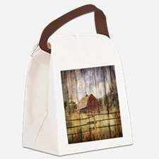 western country red barn Canvas Lunch Bag