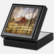 western country red barn Keepsake Box