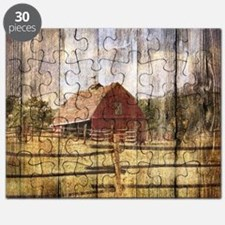 western country red barn Puzzle