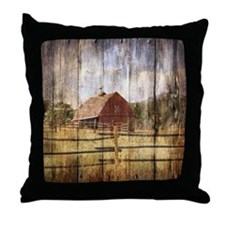 western country red barn Throw Pillow
